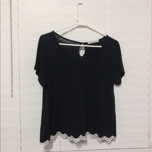 Tops - soft tee with white lace trim